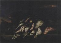 triglie, anguille, calamari, una conchiglia e un bacile di rame con granchio en plein air by elena recco