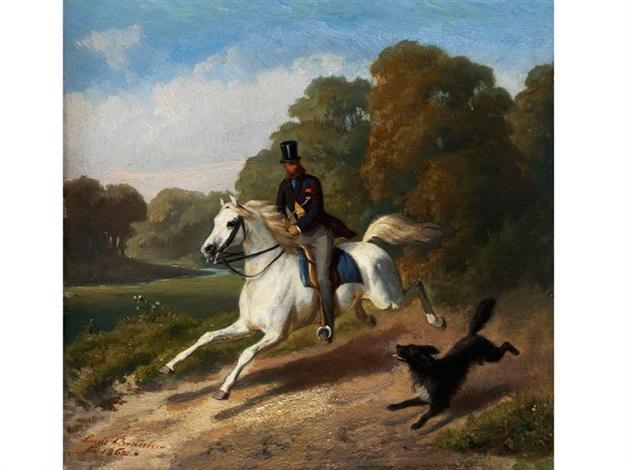 ausritt eines herrn mit zylinder auf einem schimmel in begleitung eines hundes by louis ludwig braun