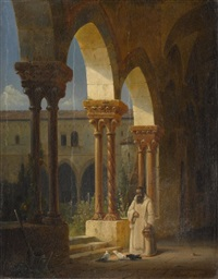 mönch im klostergang by friedrich gartner