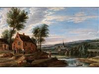 flusslandschaft mit bauerngehöft, dorfkirche und staffagefiguren by anonymous-flemish (17)