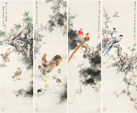 花鸟图 flower and bird set of 4 by liu hongyao