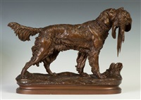 bronze setter & pheasant by jules moigniez
