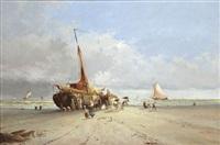 pêcheurs près des chaloupes à la plage by hendrik vader