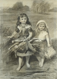 sketch for a picture- two young girls crossing a stream with baskets by eden upton eddis