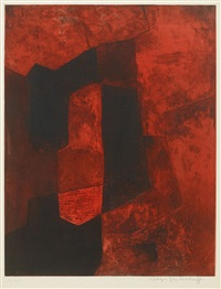 composition brune et rouge by serge poliakoff