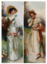 an elegant lady in a landscape (+ another; pair) by a. secola