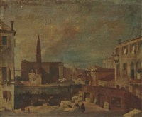 the stonemason's yard, with santa maria della carità, venice by italian school-venetian (19)