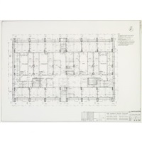 world trade center (north tower) sub-level to 3rd floor and core details (7 works) by minoru yamasaki