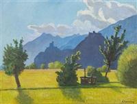 vue de valère et tourbillon depuis la plaine du rhône by eugene reichlen