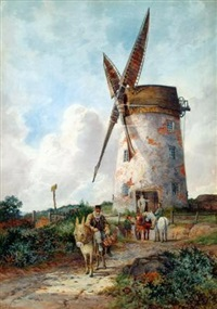 horses and a donkey before a windmill by robert dobson