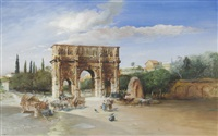 blick auf den konstantinsbogen in rom by martin weblus