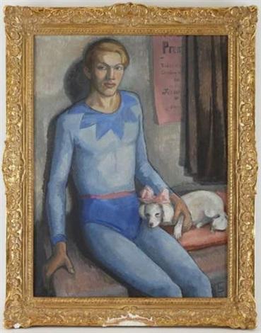 un arlequin avec son chien by frederick wilhelm jacobsen