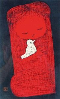 girl with dove (+ boy with flower; pair) by kaoru kawano