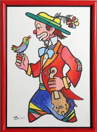 clown with bird by jovan obican