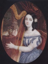 portrait of a young lady playing a harp, she wears décolleté dress with blue skirt, pearl necklace, gold bracelet and pink rose... by michaelo albanesi