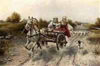 zwei junge russinnen auf einem pferdewagen by b. adolin