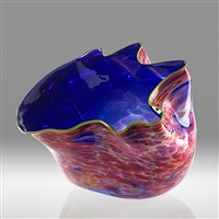 large macchia bowl with chartreuse lip wrap by dale chihuly
