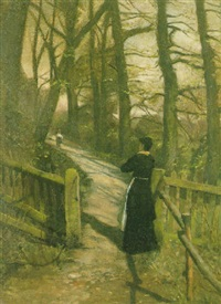 a woodland path in brittany by nathaniel, r.h.a. hill