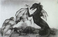 drawings to illustrate the story of st george and the dragon by nicki palin