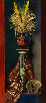 still life with blades of grass in a large greek vase on a pillar, on the floor the painter's palette by edith dorothea almqvist