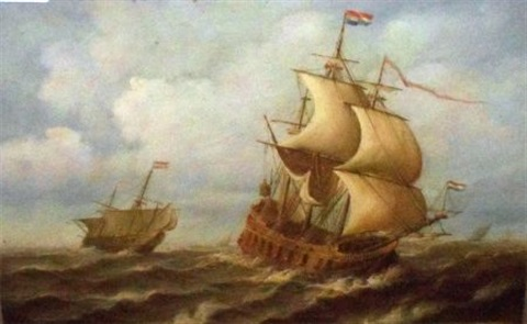naval boats at sea by jean laurent