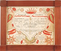 untitled (fraktur birth certificate) by johann jacob friedrich krebs
