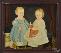 folk portrait of two children with a doll and a pull toy by jeanne davies