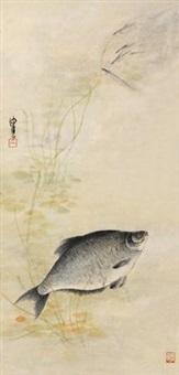 游鱼图 镜片 设色纸本 by chen peiqiu