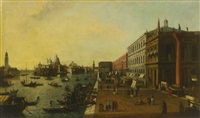 the molo, venice, looking west, with the colonne di san todaro by canaletto