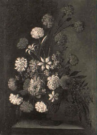 carnations, lilies and other assorted flowers in a terracotta vase by francesco della questa