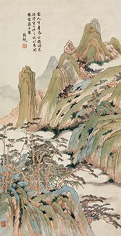 拟宋人青绿山水 立轴 纸本 by xia jingguan