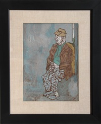 seated old man by joseph solman