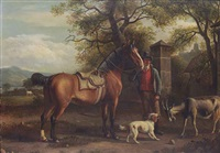 a horseman and his horse with a dog and a goat, a pasture and town beyond by jean daniel huber