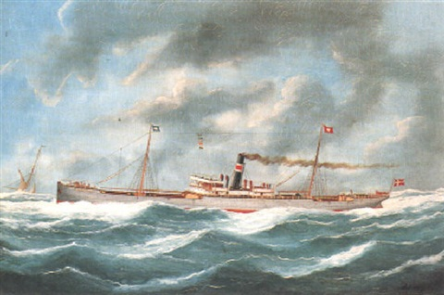 dänischer dampfer nordhavet auf see by edouard the younger adam