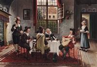 ein mandolinenspieler unterhält tafelnde ratsherren by bruno blätter