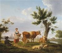 pendants mit pastoralen szenen (pair) by frans swagers