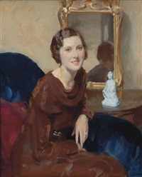 portrait of a lady, seated, three-quarter-length, in a brown cowl neck dress by walter ernest webster