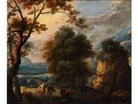 hügelige baumlandschaft mit szene aus dem alten testament by lodewijk de vadder