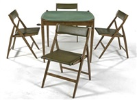 poker table and four folding chairs (set of 5) by gio ponti