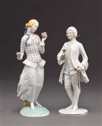 rosenkavalier (+ junge dame mit blume; 2 works) by augarten