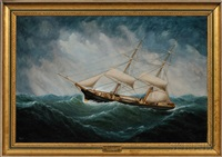 portrait of the brig emerald in a gale by william howard yorke