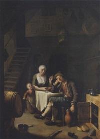 handwerkerfamilie bei der mahlzeit by johann jakob mettenleiter