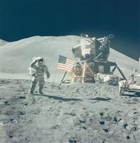 james irwin salutes the american flag, eva 3, apollo 15, august 1971 by david scott