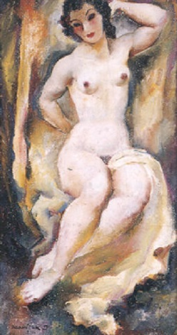 sitzender weiblicher akt by josef adamicek