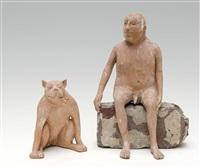 homme assis et chien (2 works) by jose vermeersch