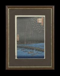 fireworks at ryogoku from the series one hundred famous views of edo by ando hiroshige