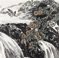 花鸟(菊花小鸟) by liang rujie