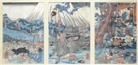 ein gefolgsmann des minamoto yoritomo 1147 - 199 erlegt den am fuße des fu-ji-san hausenden eber (triptych) by utagawa yoshikazu