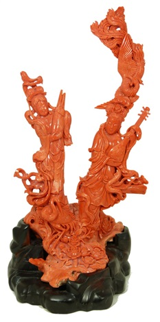 chinese hand carved red coral meiren group