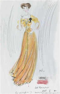 costume design for lady faringford, the return of the prodigal, act i by cecil beaton